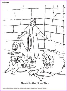 enjoy coloring this picture of daniel in the den of peaceful lions