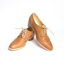 honey brown derby shoes cuban heel - FREE WORLDWIDE SHIPPING