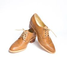 honey brown derby shoes cuban heel - FREE WORLDWIDE SHIPPING