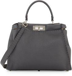 Fendi Peekaboo Medium Leather Satchel Bag, Gray