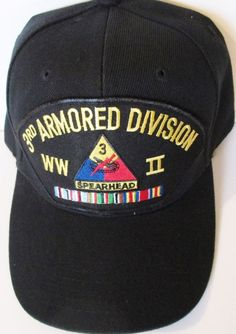 3RD ARMORED DIVISION WORLD WAR II  W/ CAMPAIGN RIBBON BALL CAP/HAT #MILPRO #BallCap
