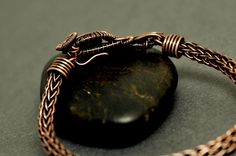 Nicole Hanna Jewelry   Wire Wrapped Vesuvianite, Copper Viking Knit Bracelet   Online Store Powered by Storenvy