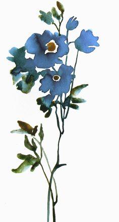 Blue Flower Minimalist Art Watercolor Original by FluidColors