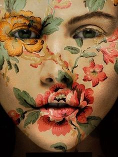 Vintage Floral Face #Painted Body #Paint Body #Painting Body