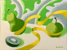 Daily Painters Abstract Gallery: Mark Adam Webster - Abstract Geometric Still Life With Fruit Painting in Green