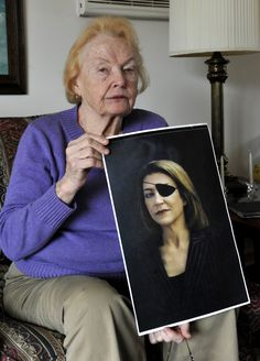 February 22, 2012 Rosemarie Colvin holds a photo of her daughter Marie Colvin, a journalist who was killed while reporting in Syria.    Fearless woman.    Photo by Kathy Kmonicek (AP)   2007 portrait by Bryan Adams.