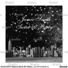 Etched NYC Skyline Black BG White Heart Sweet 16