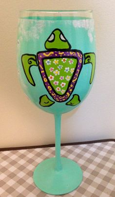 Flowered Turtle Wine Glass by SassysGlassies on Etsy