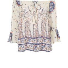 TOPSHOP Paisley Peasant Blouse ($65) ❤ liked on Polyvore featuring tops, blouses, shirts, cream, paisley shirt, peasant blouse, white off the shoulder top, white shirt and paisley print shirt