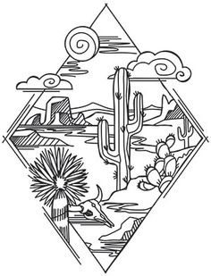 A mystical desert landscape takes shape inside this simple diamond. Geometric detail makes this the perfect embroidery design for curtains, T-shirts, tea towels and more! Wüsten Tattoo, Tattoo Drawings, Pencil Drawings, Art Drawings, Tattoo Sketches, Desert Tattoo, Desenhos Old School, Arte Equina, Kunst Tattoos