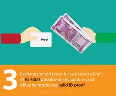 Exchange of old notes for cash upto a limit of Rs 4000 possible at any bank or post office by producing valid ID proof.