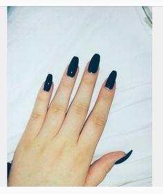 Long Black Nails #nails #black