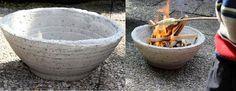 Eine Feuerschale aus beton für den Garten kann man kann leicht selber machen