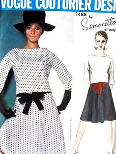 1960s  SIMONETTA 2 PC Dress Pattern VOGUE COUTURIER Design 1488 Scoop Neckline Flared Skirt Day or Party Bust 32 Vintage Sewing Pattern UNCUT + Label