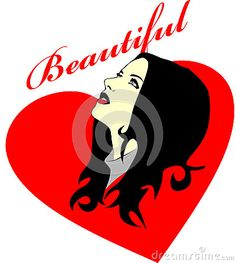 Colored Vector drawing of a fictional woman who was facing up, heart background.