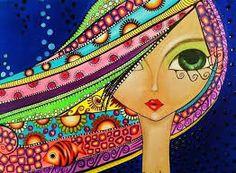 Vibrant Artwork By Romi Lerda Face Art, Doodle Art, Painting Inspiration, Cute Art, Whimsical Art, Illustration Art, Art, Zentangle Art, Pop Art