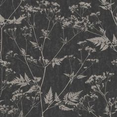 Graham & Brown Paste The Wall, Not The Paper Gilded Fern Metallic Effect Black & Grey Wallpaper: Image 1