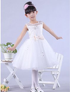 A-line Bateau Knee-length Satin And Lace Flower Girl Dress – USD $ 49.99