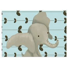 product image for Oopsy Daisy Edison the Elephant Canvas Wall Art in Blue