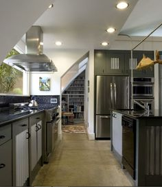 Quonset Hut Kitchen - industrial - Kitchen - Charleston - Frederick + Frederick Architects - Love the floor
