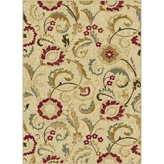 Ivory, Red & Gold 8' x 10' Laguna Area Rug