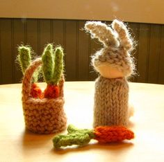 Waldorf Spring Toy Rabbit and Basket of Carrots by thiscosylife, $25.00