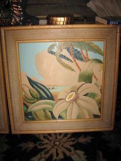 Tropical-Mid-Century-Kupur-Paintings-Tiki-Hawaiiana-Faux-Bamboo-Grasscloth-Signe