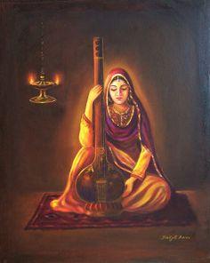 प्रभु मेरे अवगुण चित ना धरो , Prabhu ji mere avgun chit na dharo bhajan, Song Indian Women Painting, Indian Art Paintings, Portrait Paintings, Abstract Paintings, Oil Paintings, Abstract Art, Krishna Painting, Krishna Art, Radhe Krishna
