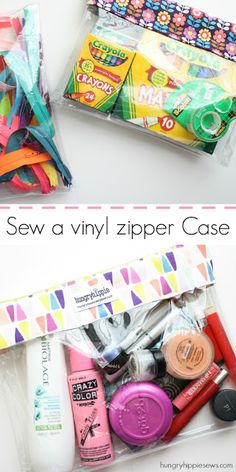 How to sew a clear vinyl zipper case pouch tutorial: hungryhippiesews