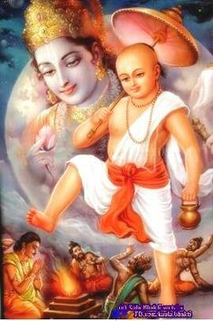 Bali grants Vamana (the dwarf brahmin avatar of Vishnu) 3 paces of land despite his guru advising him against it, earning his guru's curse. Bali argued that he never goes back against his word and grants Vamana 3 steps. Pleased with Bali Vishnu allows Bali to rule all 3 worlds for a period of time before returning the heavens to Lord Indra.