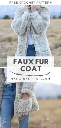 How To Crochet A Faux Fur Coat – Free Pattern OMG! This faux fur coat is so cozy and easy to crochet. I love the length and the pockets as well as the style that I'm . Crochet Coat, Crochet Cardigan Pattern, Crochet Yarn, Crochet Clothes, Crochet Stitches, Crochet Patterns, Crochet Sweaters, Knitted Coat Pattern, Sewing Patterns