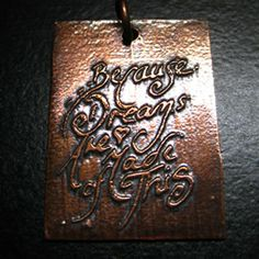 """hand made etched copper charm - Because Dreams Are Made Of This.  I've always loved this line and have included it in my jewellery before but here it is now, drawn by hand and etched onto copper.  I made a resist of my design and etched the copper using the salt water etching process, I then used liver of sulphur to """"age"""" it to bring out the detail. Due to the etching & resist process each charm will be different - £4.50"""