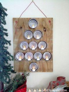 flameless tealights and tuna can christmas tree, christmas decorations, how to, repurposing upcycling, seasonal holiday decor