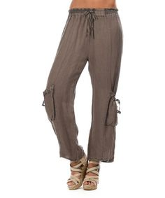 Taupe Two-Pocket Tie-Waist Soft Pants #zulily #zulilyfinds