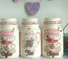 Tea coffee sugar kitchen jars kitchen by SophsPaperButterfly