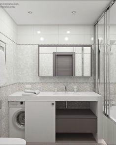 Small bathroom shower washing machine ideas for 2019 Laundry Bathroom Combo, Small Bathroom With Shower, White Bathroom, Bathroom Storage, Modern Bathroom, Master Bathroom, Bathroom Vintage, Bathroom Organization, Bathroom Toilets