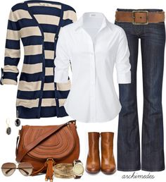 After hour events seem to be confusing from a fashion standpoint.  You don't feel like staying in dress/work clothes but you don't want to look too casual in jeans/t-shirt.  An outfit like this is the best of both worlds.  White button up gives a sharpness to the outfit, jeans and sweater add comfort and casualness, boots/shoes are more dressy than sneakers or loafers.  This is a great choice!