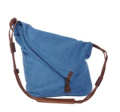 Blue  Genuine Cow leather bag canvas bag BACKPACK  di AWESOMEBAG, $39.99