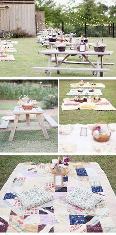 ¡Para tu boda mantas de patchwork y cestas de mimbre!