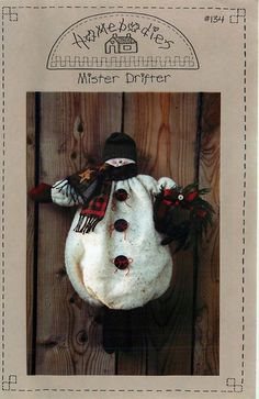 """Winter Sewing Pattern for """"Mister Drifter"""" by Homebodies, a 15"""" Snowman by CarlasHope on Etsy"""