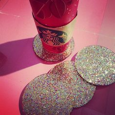 Coffee is much better when served on glitter coasters. #missmanners