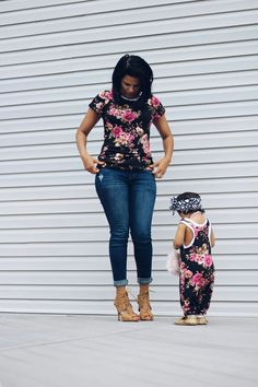 floral set for mommy and girl, romper and shirt