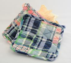 Handmade madras pot holders on really cool coastal site, check it out