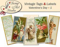 Vintage printable tags labels valentine's day love flower heart decor gift antique watercolour art printable card vintage design