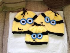 Minion type hats, hand knitted