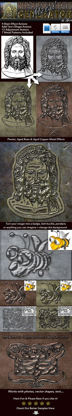 Metal Repousse Effects Generator #engrave #pewter • Download here → https://graphicriver.net/item/metal-repousse-effects-generator/13203840?ref=pxcr