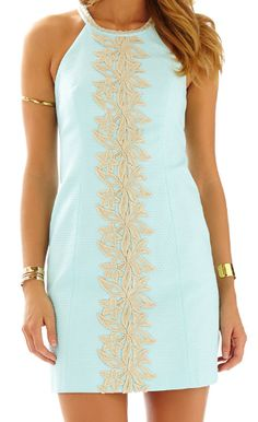 Lilly Pulitzer Pearl Lace Detail Shift Dress in Whisper Blue