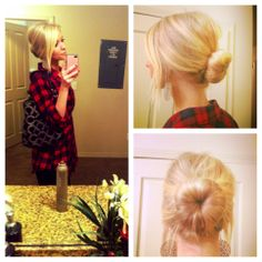 Low sock bun! Awesome option to avoid soar hair by day end.