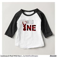 Lumberjack Plaid Wild One   First Birthday Baby T-Shirt