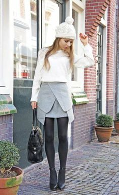 Shop Women's Shorts Online to Keep Stylish Fashion Models, Girl Fashion, Fashion Show, Origami Skirt, Winter Skirt, Black Wedges, Black Heels, Gray Skirt, Style